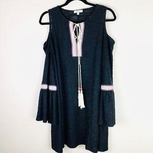 BOHO Bell Sleeve Embroidered Mini Dress Tunic S